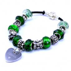 Green Personalised European Style Bracelet with Engraved Heart Charm
